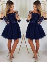 ingrosso lungo vestito elegante blu da ritorno a casa-Ritorno a casa veste 2019 Navy Blue paillettes smerlato del manicotto lungo elegante di Tulle di alta qualità abiti da festa popolare breve cocktail di ballo