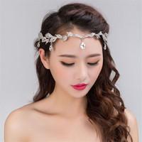 alin taç takı toptan satış-Moda Rhinestone Gümüş Kadınlar Düğün Gelin Alın Kafa Zincir Headdress Kristal Kolye Gelin Tiara Saç Takı Aksesuar T190620
