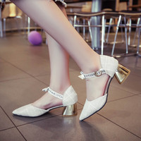 Wholesale small wedges sandals for sale - Group buy Overseas2019 Summer Spring Pattern Sharp Baotou Chic Sandals Korean All match Crude Small Clear A New High With Woman Shoes