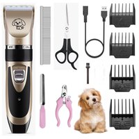 Wholesale dog hair clipper blades resale online - Electrical Pet Hair Clipper Dog Grooming Kit Dog Hair Trimmer Rechargeable Low noise Cat Grooming Tools Pet Hair Shaver Machine