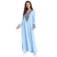 свадебные платья оптовых-blue muslim dresses and abaya for women Printed abaya femme long Robe Slim Dress Maxi Kaftan Islamic Clothing#G9+1