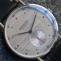 водонепроницаемые часы оптовых-Мода Повседневная Марка NOMOS Водонепроницаемая Кожа Бизнес Кварцевые Часы Мужчины Платье Часы Женские