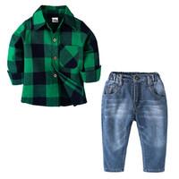 camisa longa verde escura da luva venda por atacado-Desgaste das crianças Twopiece Terno Camisa de Algodão Jeans Calças de Manga Longa Verde Escuro Treliça Lattice Cardigan Botão 50