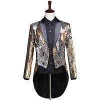 vestidos de casamento casacos venda por atacado-Ouro Sliver Lantejoula Glitter Tuxedo Terno Blazer Men Wedding Evening Vestidos de Festa Boate Palco Singer Desempenho Terno Jaqueta