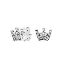 coronas de moda al por mayor-NUEVA Moda CZ Diamond Stud Pendientes para Pandora 925 plata esterlina magia corona pendiente Original caja de regalo set para mujeres niñas