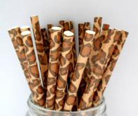 leopar malzemeleri toptan satış-100pcs Leopard Baskı Kağıdı Payet Zürafa Cheetah Kahverengi Hayvan Safari Jungle Zoo Çocuk Doğum Günü Partisi Pipetler Malzemeleri