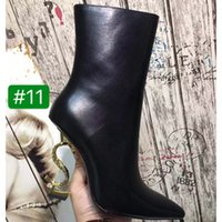 Wholesale ankle boots orange heel resale online - Top quality Sheepskin inside Pointed Toe Thrill Heel Women Ankle Boots luxury designer Black Leather Letter High Heels Women Boots with box