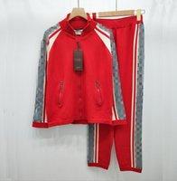 zip boyun üstü toptan satış-Ins sıcak toptan Paris Batı tarzı pist moda Zip Boyun Cep Fermuar Fermuar Baskı Mektup Pantolon suit