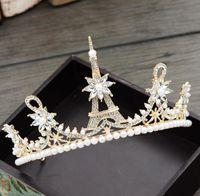 Wholesale high end crowns tiaras for sale - Group buy High end atmosphere Korean crown wedding accessories bridal headwear photo studio accessories sweet princess crown Korean style