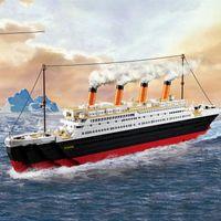 Wholesale diy model ship kit for sale - Group buy 0577 Legoinglys City Titanic RMS Boat Ship Sets Model Building Kits Blocks DIY Hobbies Educational Kids Toys Children Bricks