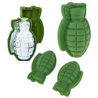 ingrosso muffa di cubo di ghiaccio 3d-Grenade Shape 3D Ice Cube Mould Grenade Maker Ice Cube Silicone 3D Ice Tool Utensili da cucina Genie
