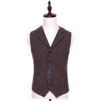 ingrosso nuovi modelli di blazer-New Mens Casual Vest Brown Wedding Tuxedo Pattern Casual Lana Stitch S-4XL Smoking Business formale giacca Uomo della giacca
