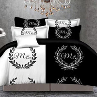 Wholesale queen duvet covers for sale - Group buy Black white Her Side His Side Bedding Sets Queen Size Double Bed Bed Linen Couples Duvet Cover Set