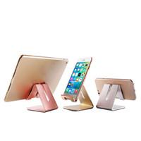 yeni zte telefonlar toptan satış-Yeni Evrensel Alüminyum Metal Cep Telefonu Tablet Tutucu Danışma iPhone 7 için Standı Artı Samsung Perakende Paketi Ile s8 artı ZTE ...