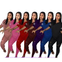 ingrosso pantaloni salotto yoga-Tuta Sportiva Donna Rosa Lettera Rosa Crop Top Pantaloni Rosa Tute Summer Sport Lounge Wear Ladies Tops Suit