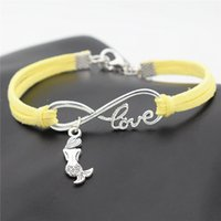 Wholesale mermaid fashion accessories for sale - Group buy Hot Selling Yellow Leather Suede Wax Cord Infinity Love Mermaid Charm Bracelet Bangles Fashion Women Men Customize Accessories Jewelry Hot
