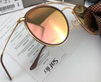 Wholesale bridge boxes resale online - Classic Sunglasses Round Double Bridge Gold Brown Pink Gradient Mirror unisex Designer sunglasses eyewear Shades New With Box
