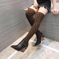 bottes à talons hauts à vendre achat en gros de-Vente chaude Designer Femmes Cuisse Bottes Hauts Talons Chunky Bout Pointu D'hiver Chaussures D'hiver Mixte Couleur Stretch Noir Lady Chaud Botte