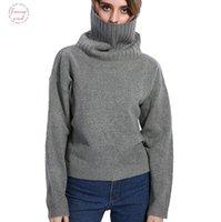 pulls tricotés à la main achat en gros de-Automne Hiver Femmes Col Roulé Couleurs 20% Laine Haute Qualité Surdimensionné En Tricot Jumper Pull À La Main Doux En Pull