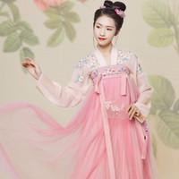fee kleidung großhandel-Rosa chinesische traditionelle Hanfu Kostüm Frauen Fairy Dance Kleidung Mädchen Lady Tang Dynastie Outfit chinesische alte Kleidung DWY1920