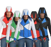 Wholesale assassins creed costumes online - Anime Assassins Creed Hooded Coat Men Jacket Conner Kenway Cosplay Outwear Daily Wear Costume Adult Gifts