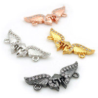 Wholesale fly connectors resale online - 21 mm Micro Pave Clear CZ headpiece Fly Connectors Fit For Men And Women Making Bracelets Jewelry