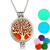 Wholesale double locket necklace for sale - Group buy Newest Fragrance luminous Aromatic Essential Oil Diffuser Pendants double Page Aroma Pendant fragrance distributed Necklace Locket Pendants