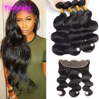 Malaysian Unprocessed Human Hair 4 Bundles With 13x4 Lace Frontal Baby Hair Body Wave Bundles With Frontal yiruhair Natural Color