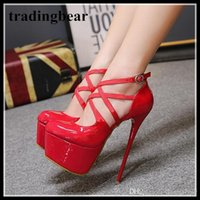 Wholesale platform strappy buckle stiletto shoes for sale - Sexy2019 Red Patent PU Leather Cross Strappy Platform High Heel Shoes Bridal Wedding Shoes Size To