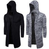 gilet noir mode homme achat en gros de-Mens hiver capuche tricotée cardigan longue longueur vêtements d'extérieur noir gris homme vêtements de mode livraison gratuite