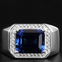 ingrosso anelli di tanzanite dei monili-gioielli di lusso S925 anelli in argento sterling tanzanite blu anelli aperti per gli uomini semplice classico moda calda