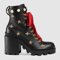 toka askısı topuklu topuk platformu toptan satış-2018 Tasarımcı kadın Ayakkabı Moda İngiliz Çizmeler Yuvarlak Ayak Martin Çizmeler Toka Askı Tıknaz Topuk Yuvarlak Toes Moda Işlemeli Ayak Bileği Çizmeler