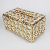 Wholesale metal tissue box holder resale online - Luxury Crystal Tissue Box Removable Napkin Holder Home Dining Room Decoration Bar KTV Table Decoration European Style Pieces ePacket