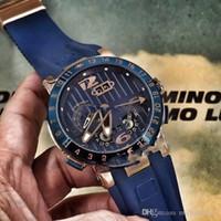olha ulysse venda por atacado-2019 Nova Ulysse Executivo El Toro / Preto Toro Calendário Perpétuo GMT 326-00-3 / BQ Rose Gold Dial Azul Borracha Automatic Mens Watch UN-17c3