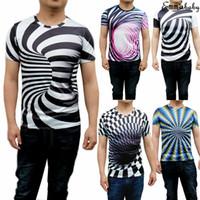 illüzyon gömlek toptan satış-3D Optik illusion Tişört Hipnoz Girdap Baskı Erkekler Kısa Kollu Tee Tops