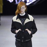 casacos de couro venda por atacado-19FW Luxo Europeu Patchwork Casaco de couro moda de alta qualidade confortável casais Baseball Jacket mulheres dos homens Brasão Designer HFKYJK010