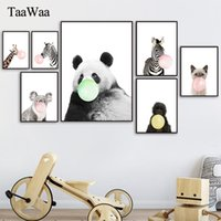 Wholesale lion room decor for sale - Group buy Animal Blowing Bubble Gum Wall Art Child Poster Prints Lion Elephant Giraffe Tiger Canvas Painting for Kids Room Pictures Decor