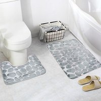 alfombra de baño de guijarros al por mayor-Antideslizante resistente al agua Moda Hermosa Guijarros suaves Patrón Alfombra Conjuntos de dos piezas Alfombrilla de baño antideslizante Alfombra de baño