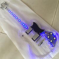 ingrosso luci chitarra elettrica acrilica-Spedizione gratuita Alta qualità Acrilico corpo acrilico collo Giovane SG 400 500 Led Light On Electric Guitar Guitarra