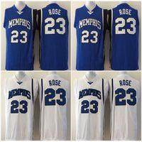 freie sport-uniformen großhandel-Männer College 23 Basketball Derrick Rose Jersey Verkauf Blau University Memphis Tigers Trikots Uniform Atmungsaktiv Für Sportfans Freies Verschiffen