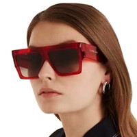 Wholesale korean sunglasses brands resale online - 2019 Europe America New Big Square Sunglasses Women Retro Brand Design Sunglasses Korean Big Frame Transparent Red