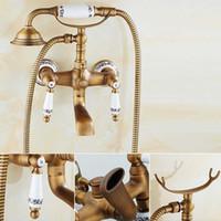 antik pirinç musluk setleri toptan satış-Antik Pirinç Küvet Duş Musluk Set Çift Kolları Mikser Dokunun Duvara Monte Banyo Duş Seti Döner Küvet Bacalı Banyo Duş