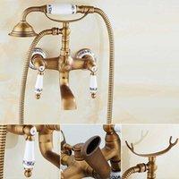 ingrosso manopole di controllo del bicromato di potassio-Set di rubinetti per vasca da bagno in ottone antico Set di doppi pomelli Rubinetto per vasca Set doccia a parete Set doccia girevole Vasca da bagno