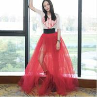 falda maxi roja más el tamaño al por mayor-Venta caliente Semi-perspectiva Falda de tul Falda roja Cintura alta elástica Largo palabra de longitud Maxi por encargo más tamaño