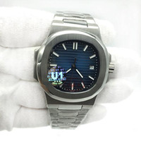 Wholesale watching sport resale online - U1 Factory Movement Engraved Mens Watch PP Automatic Mechanical Stainless Steel Transparent Back Blue Dial Men watches Sports Wristwatches