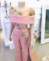 clássico tule noite vestidos curtos venda por atacado-Clássico Rosa Vestidos de Baile Jumpsuit Manga Curta Frisada Cristal Tulle Spandex Caixilhos Do Pescoço Zipper Vestidos de Noite Com Trem Longo