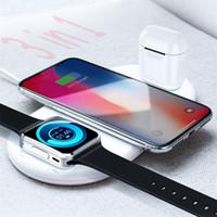 зарядка apple iwatch оптовых-Быстрая доставка Ци беспроводной телефон зарядное устройство портативная зарядка для iPhone Х 8 8plus часы iWatch airpods же время эффективный и безопасный зарядки
