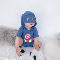 Wholesale clothe captain america for sale - Group buy Boutique Ins Baby clothing Costume Hero Captain America Mask Hooded Romper Jumpsuits Short sleeve Cotton Baby clothing