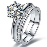 настоящий муассанит оптовых-Подлинная Moissanite Сертифицируйте тест реального 1ct обручальное кольцо стерлингового серебра Moissanite кольцо для женщин синтетические бриллианты кольца набор