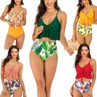 empurre os tops de maiô venda por atacado-Bikini New mulheres sexy retro swimwear push up Swimsuit impressão de alta cintura ternos top banho de fundo-sólido conjunto de biquíni plus size 2XL
